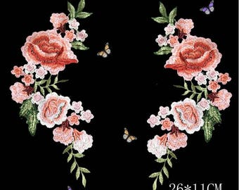 Sew on Red Rose Flower Embroidered Applique Patch.Sew On Flower Badge for T-shirts, Jeans.Embroidery Butterfly Patches sew on patches