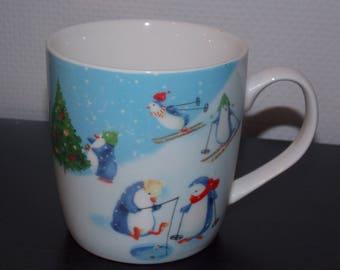 Soft-paste porcelain - Christmas penguin mug