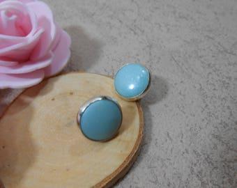 Ice mint earrings, mint round earrings, minimalist earrings, silver earrings, gift for her, mint stud earrings, polymer clay jewelry,