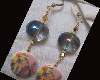 """Earrings GOLD FILLED 14KT """"cats and Art"""""""