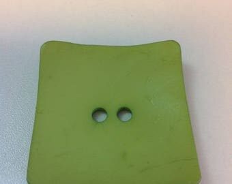 45 X 45 square decorative button - resin lime green