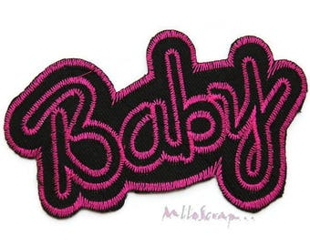 Word embroiderie black and pink X 1 embellishments scrapbooking baby *.