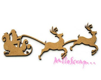 Santa sleigh frieze wooden decorative scrapbooking cardmaking X 1 (ref.710) *.