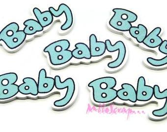 "Set of 5 words ""baby"" blue wood scrapbooking (ref.410) *."