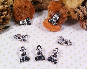 6 small charms bears plush, silvery color, 16 x 10 mm shape