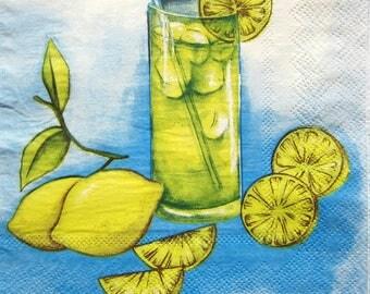 Towel lemons and lemonade 33x33cm. Yellow and blue