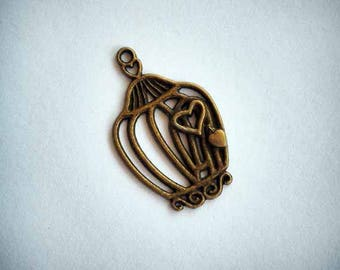 Charm pendant, bronze, 34x20mm, birdhouse, bird cage with heart