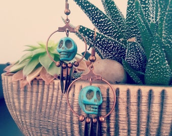 Apache earrings and turquoise beads