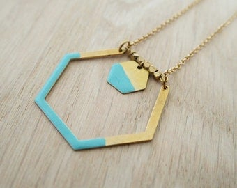 Necklace Mint green Hexagon of water - enameled jewelry