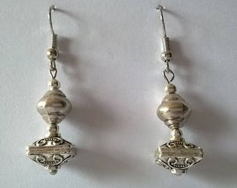Silver earrings, square cups & shell beads
