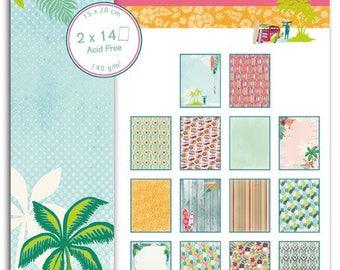 Pad of paper printed scrapbooking 15 x 20 - waikiki beach - Toga
