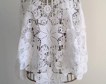 White Mercerized cotton poncho