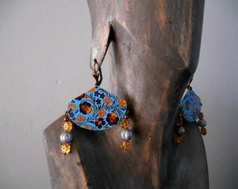 blue/yellow/bronze folk floral Stud Earrings