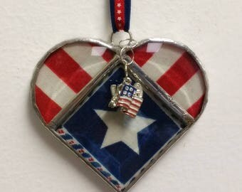 Stained Glass Heart USA ~ Red, White and Blue Patriotic Heart ~ 3.5  Inches  with Flag and USA Charms