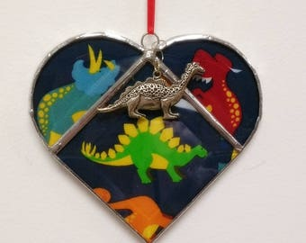 Stained Glass Heart Dinosaurs ~ Two-Sided ~ Large 5.5  Inches with a Dinosaur Charm