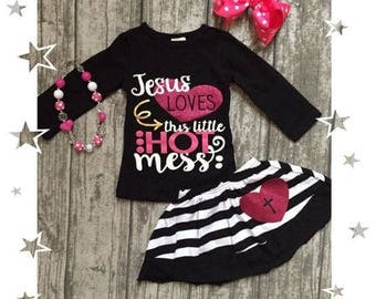 Girls Jesus Loves This Hot Mess Skirt set Outfit | FREE Accessories