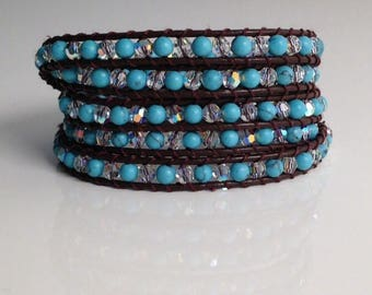 Bracelet type chan luu swarovski turquoise