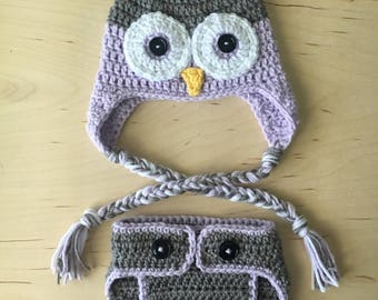 Infant owl beanie and diaper cover set Crochet infant photo prop outfit