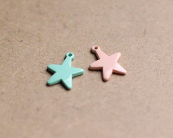 set of 2 charms metal star in stained 12 X 17 mm blue