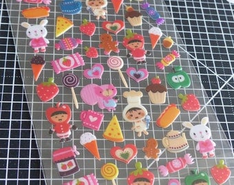 Stickers stickers 3D bulging Tweeny - food sweets pastries and funny characters