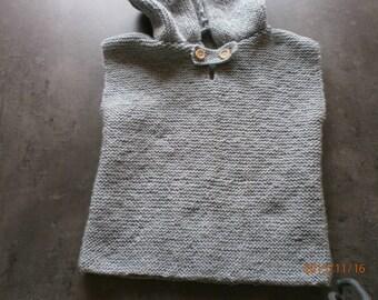 handmade 24 month gray knit sleeveless Hoodie