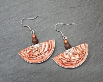 Earrings capsules of coffee - salmon half-moon