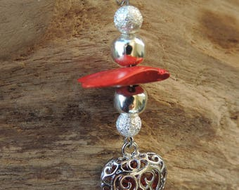 Necklace and pendant rouge.coeur silver beads and pearls.