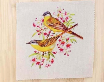 Birds fabric coupon
