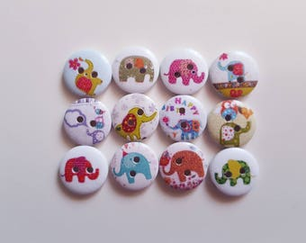 Set of 10 wooden Elephant buttons