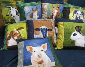 Set of 8 farm animals, square cushion covers