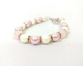 Glass Pearls Rose Quartz Bracelet