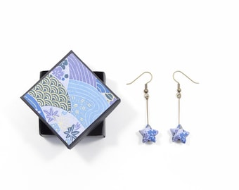 Origami star paper earrings blue Japanese washi