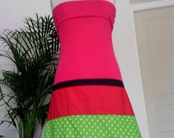 Rose - pink polka dot Cotton Jersey skirt/strapless dress.