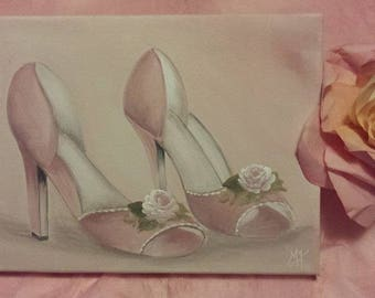 painting on canvas pink high heel shoes