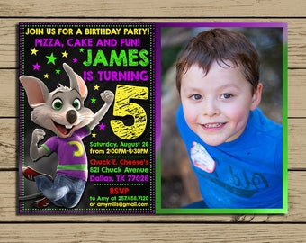Chuck E Cheese Invitation * Chuck E Cheese Birthday Invite With Photo * Chuck E Cheese Birthday Party Invitations * Personalized * YOU PRINT