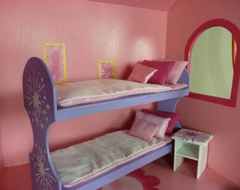 Bunk bed scale 1:6 for barbie with bedside table