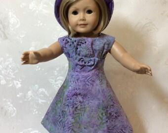 American Girl Doll Purple Batik Dress and Hat