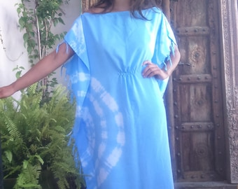 long hand painted blue tunic