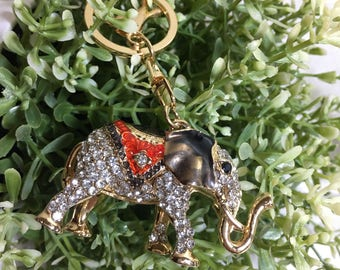 Key chain gift/ lobster swivel clasp/bling elephant key ring / golden elephant /elephant charm
