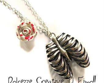 Rib cage necklace-ribcage-Emo Dark Goth white rose Blood