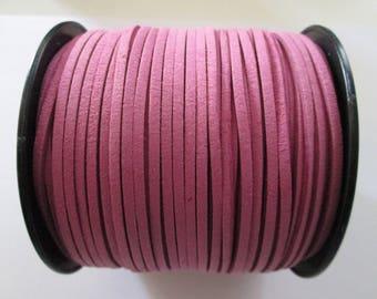 1 mètre cordon plat suédine largeur 2.5 mm couleur : rose ancien