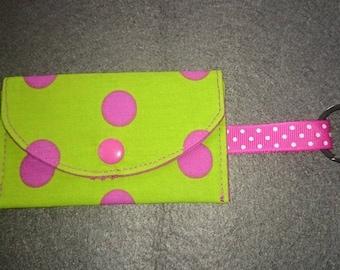 Coin purse key lime green polka dot pink