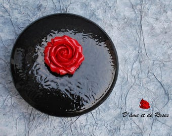 metal box with a red rose ceramic painter
