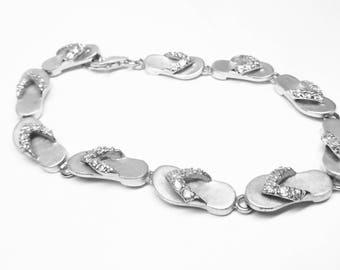 Sterling Silver Cubic Zirconia Slipper Bracelet! Made in Hawaii!