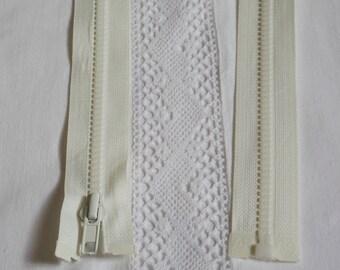 Fermeture éclair moulée séparable 55 cm écru blanc cassé
