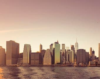 New York City Photography, NYC Print, NYC Sunset, Photography, Pink, Yellow
