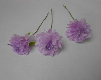 3 flowers - purple 3cm in diameter