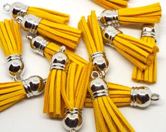 Small Mustard Yellow Suede Tassel Charm 38mm Pack of 5