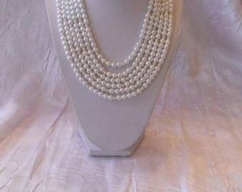 Necklace 6 rows White Pearl beads
