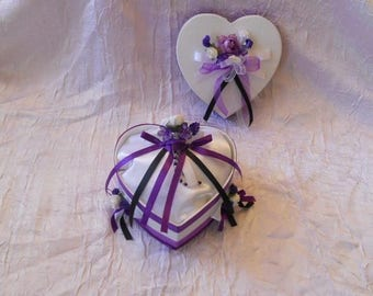 Purple, black and white color wedding ring pillow